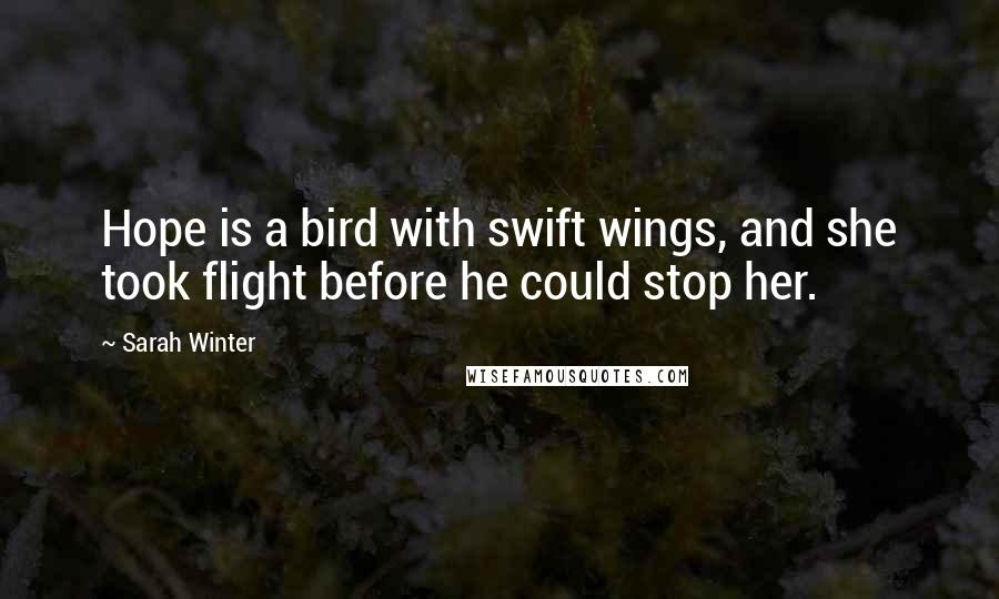 Sarah Winter quotes: Hope is a bird with swift wings, and she took flight before he could stop her.