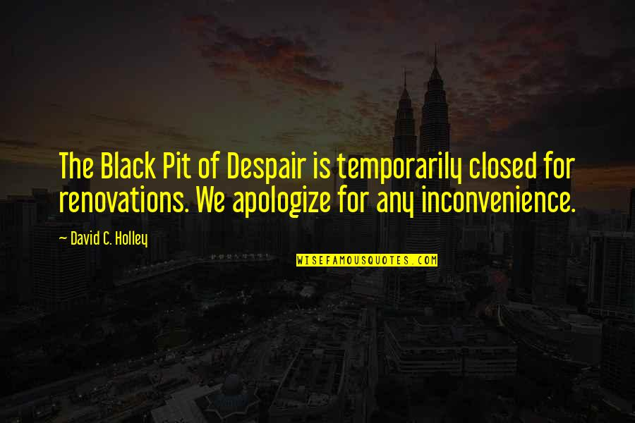 Sarcastic And Funny Quotes By David C. Holley: The Black Pit of Despair is temporarily closed