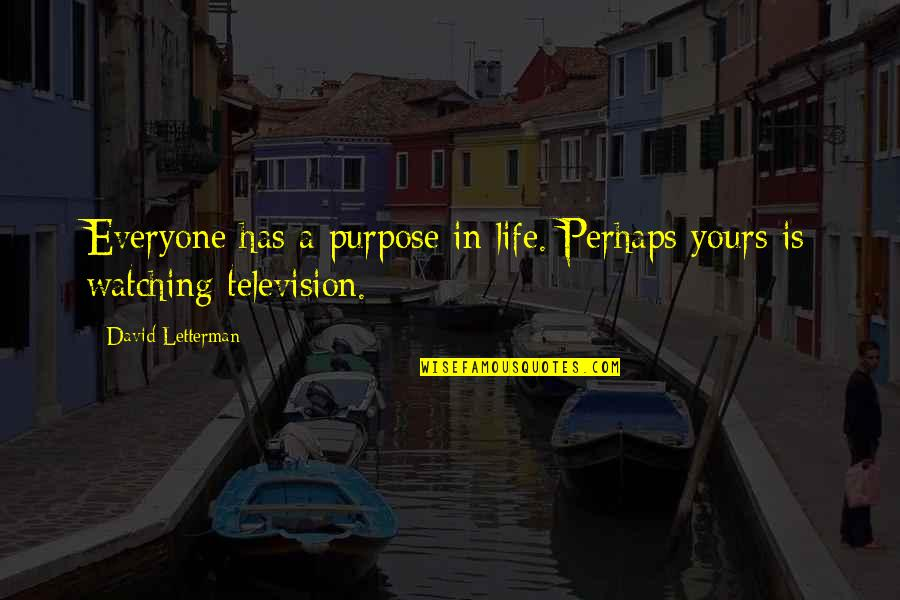 Sarcastic And Funny Quotes By David Letterman: Everyone has a purpose in life. Perhaps yours