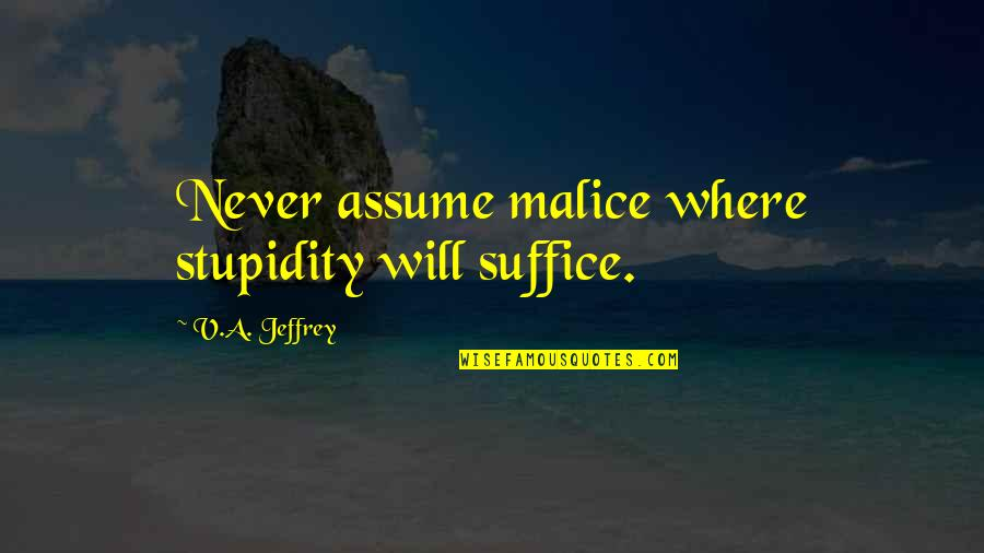 Sarcastic Cute Quotes By V.A. Jeffrey: Never assume malice where stupidity will suffice.