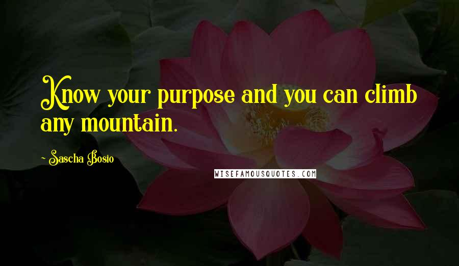 Sascha Bosio quotes: Know your purpose and you can climb any mountain.