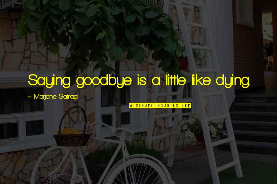 Satrapi Quotes By Marjane Satrapi: Saying goodbye is a little like dying.