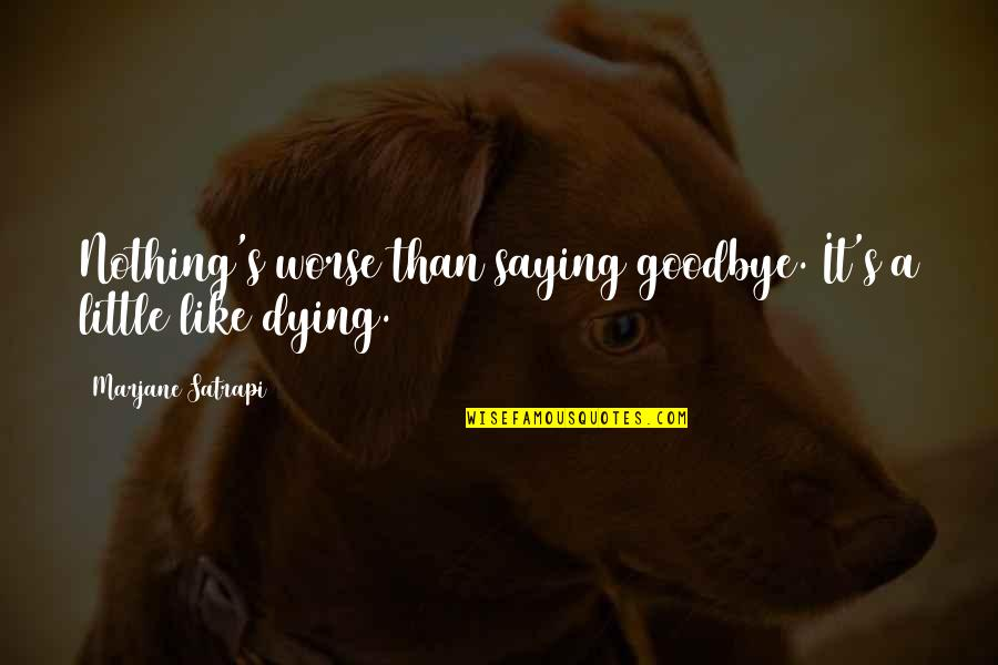 Satrapi Quotes By Marjane Satrapi: Nothing's worse than saying goodbye. It's a little