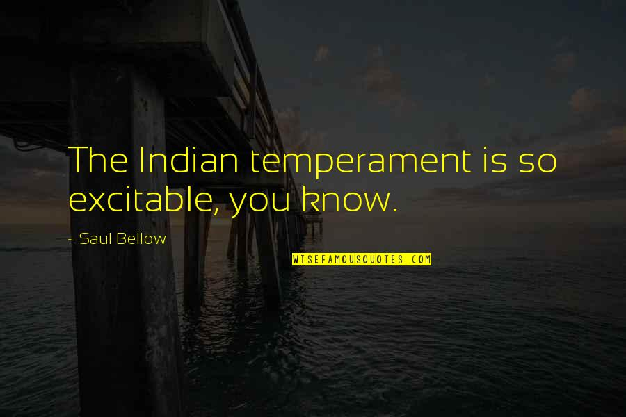 Saul Bellow's Quotes By Saul Bellow: The Indian temperament is so excitable, you know.
