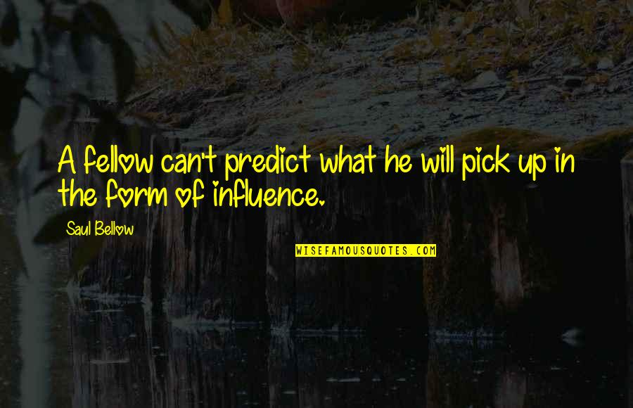 Saul Bellow's Quotes By Saul Bellow: A fellow can't predict what he will pick
