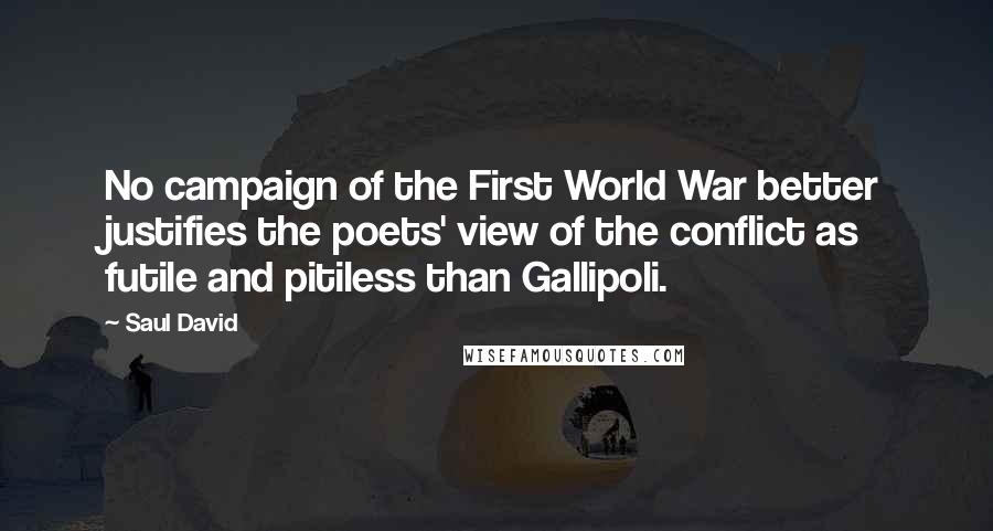 Saul David quotes: No campaign of the First World War better justifies the poets' view of the conflict as futile and pitiless than Gallipoli.