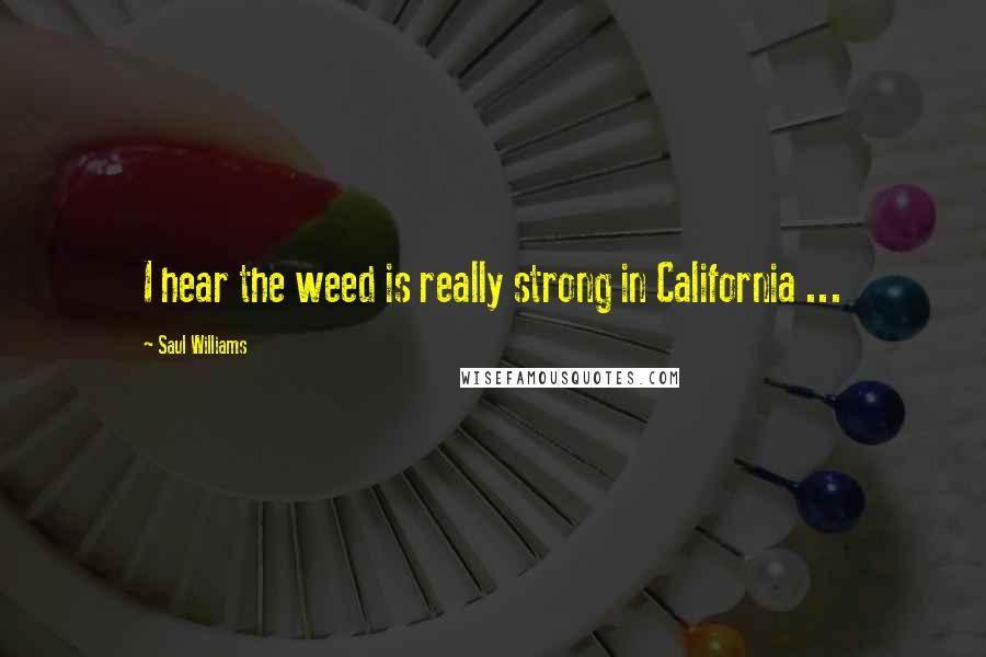 Saul Williams quotes: I hear the weed is really strong in California ...
