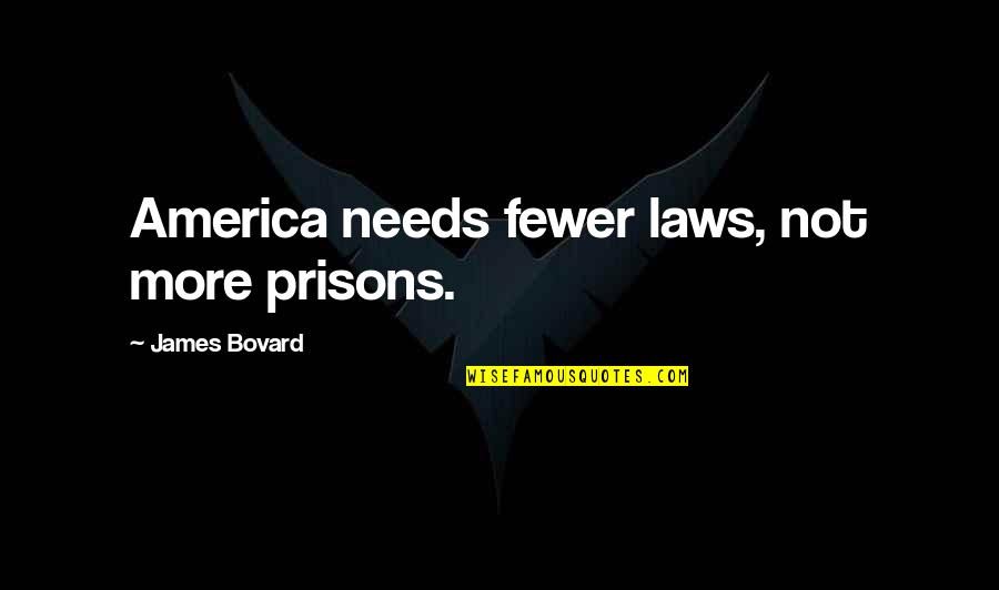 Sawney Webb Quotes By James Bovard: America needs fewer laws, not more prisons.