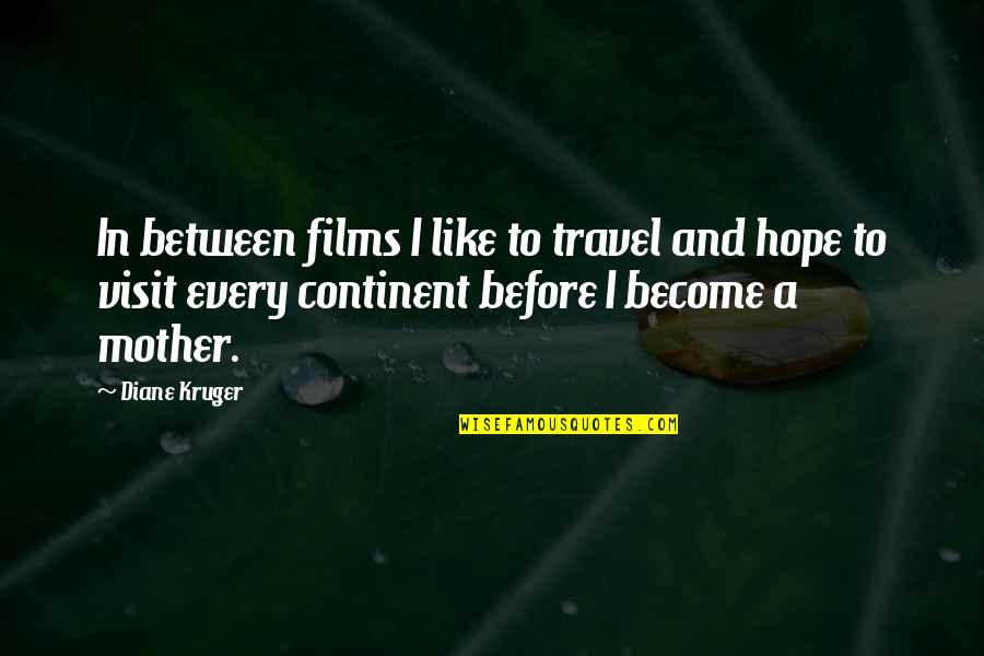 Saying Hateful Things Quotes By Diane Kruger: In between films I like to travel and
