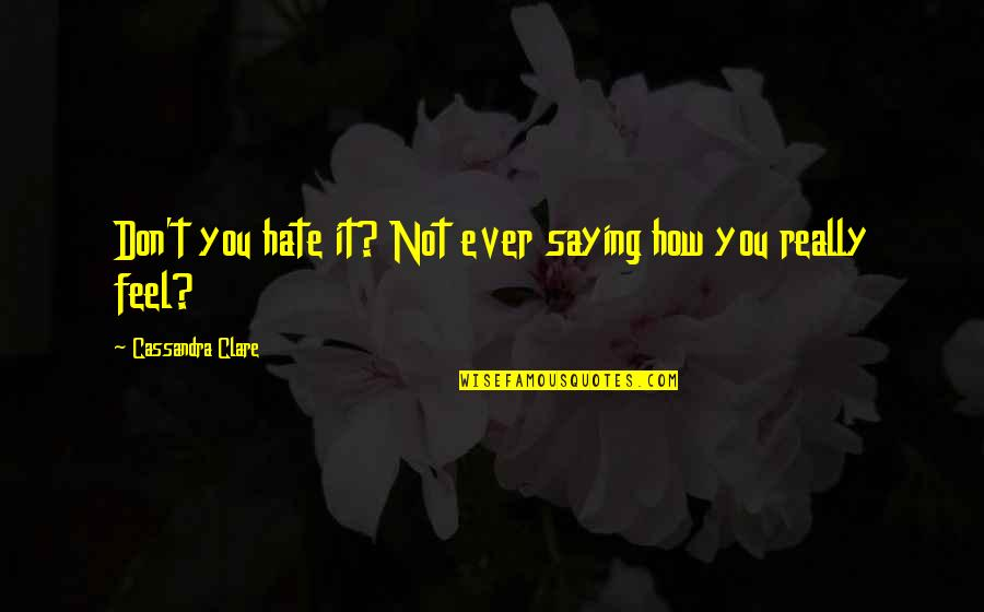 Saying I Hate You Quotes By Cassandra Clare: Don't you hate it? Not ever saying how