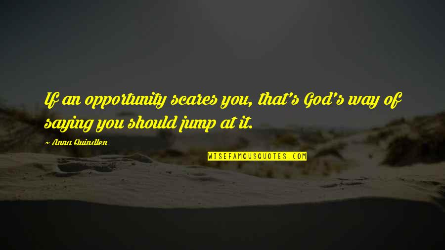 Saying It's Over Quotes By Anna Quindlen: If an opportunity scares you, that's God's way