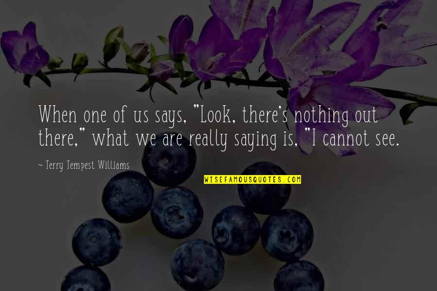 """Saying Nothing Says It All Quotes By Terry Tempest Williams: When one of us says, """"Look, there's nothing"""