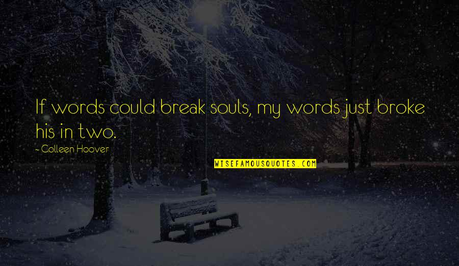 Sayyidina Umar Quotes By Colleen Hoover: If words could break souls, my words just