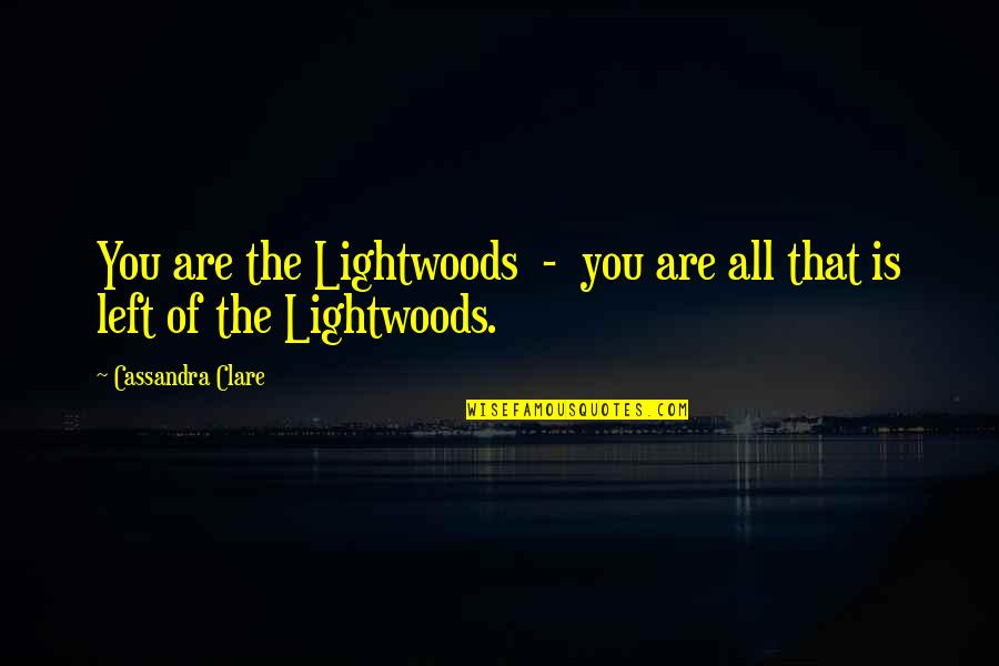 Scarecrow Matthew Reilly Quotes By Cassandra Clare: You are the Lightwoods - you are all