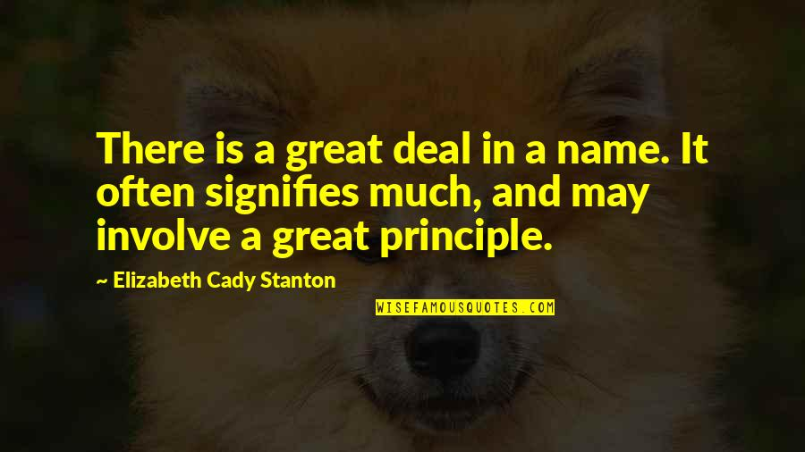 Scared Of Marriage Quotes By Elizabeth Cady Stanton: There is a great deal in a name.