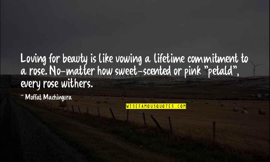 Scented Quotes By Moffat Machingura: Loving for beauty is like vowing a lifetime