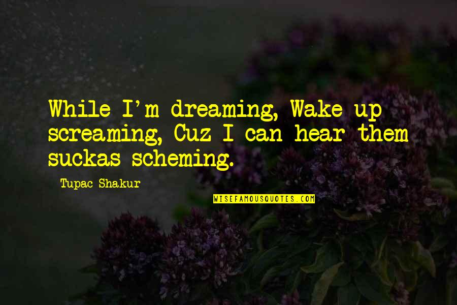 Scheming Quotes By Tupac Shakur: While I'm dreaming, Wake up screaming, Cuz I