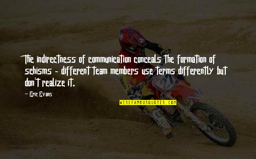 Schisms Quotes By Eric Evans: The indirectness of communication conceals the formation of