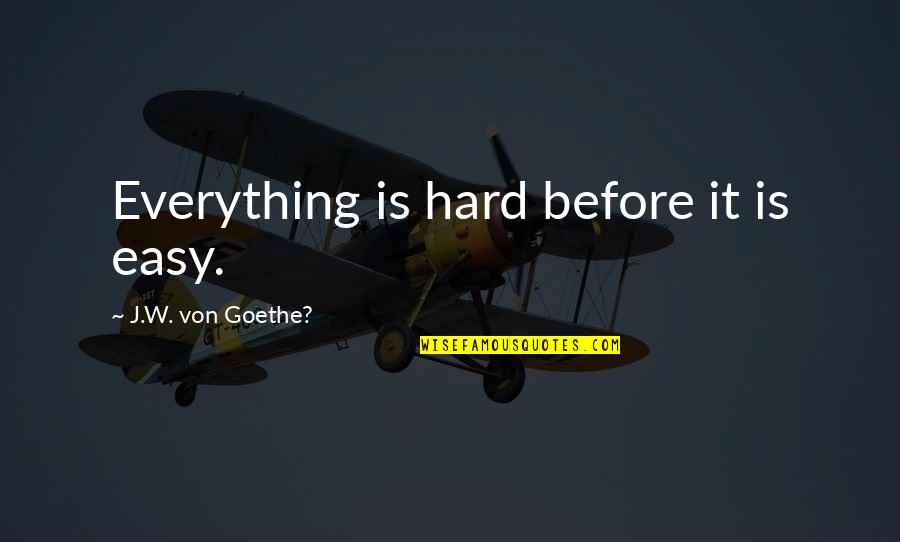 Schizophrenia Patient Quotes By J.W. Von Goethe?: Everything is hard before it is easy.