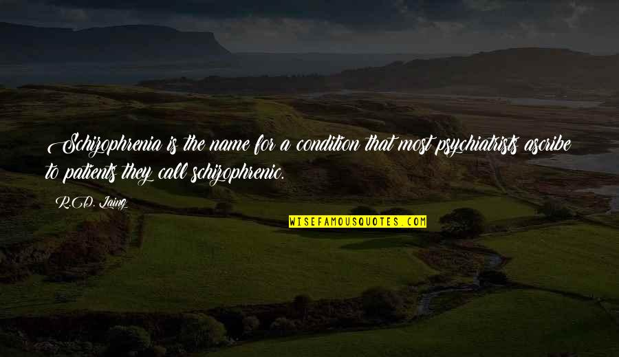 Schizophrenia Patient Quotes By R.D. Laing: Schizophrenia is the name for a condition that