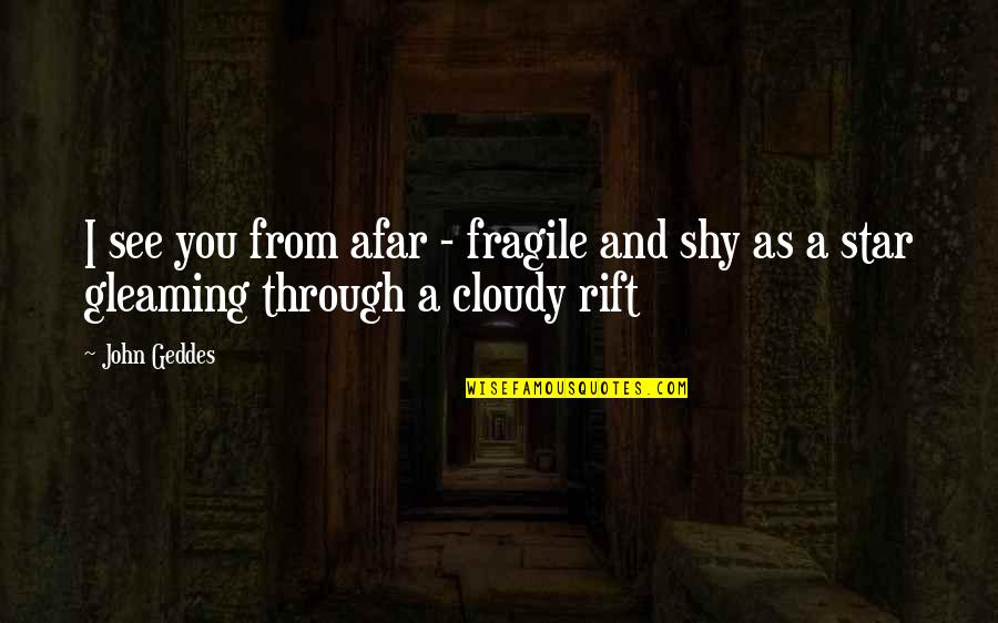 Schizophrenically Quotes By John Geddes: I see you from afar - fragile and