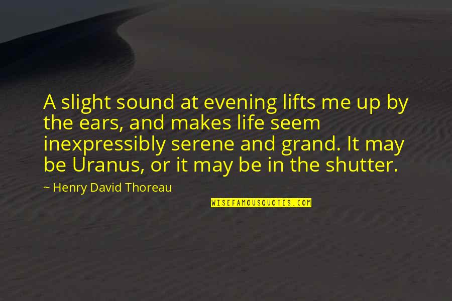 Schneerson Quotes By Henry David Thoreau: A slight sound at evening lifts me up