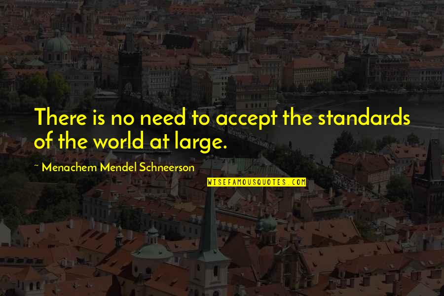 Schneerson Quotes By Menachem Mendel Schneerson: There is no need to accept the standards
