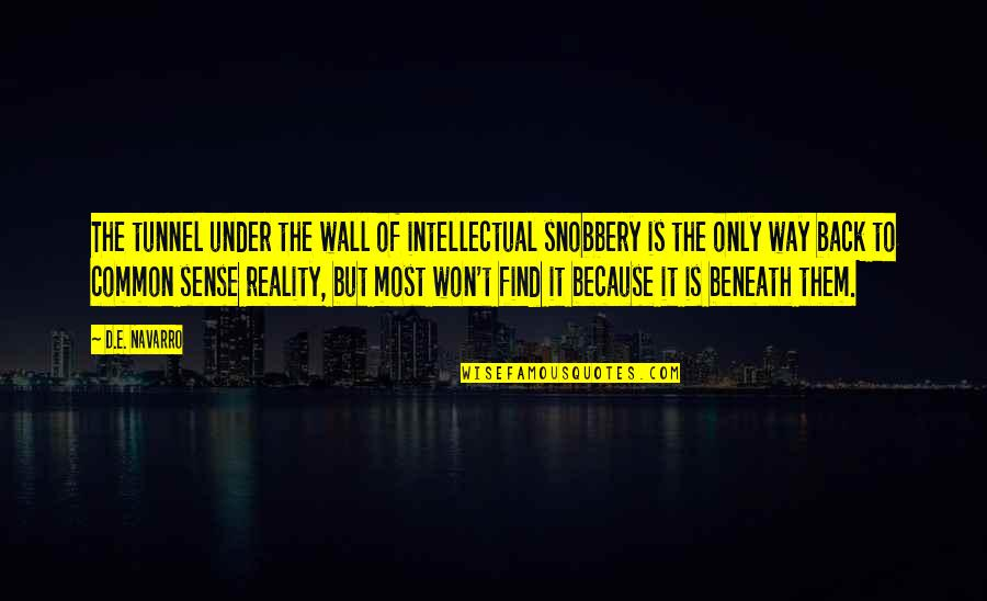 Scholarly Quotes By D.E. Navarro: The tunnel under the wall of intellectual snobbery