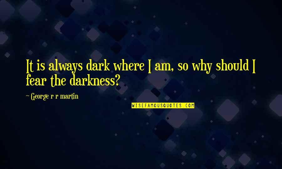 School Days Funny Quotes By George R R Martin: It is always dark where I am, so