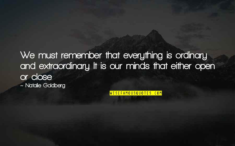 School Days Funny Quotes By Natalie Goldberg: We must remember that everything is ordinary and