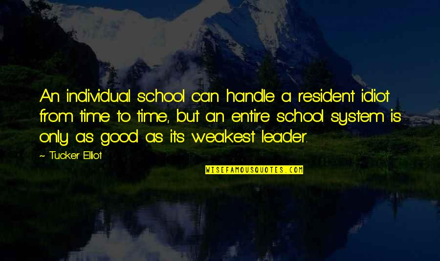 School From Students Quotes By Tucker Elliot: An individual school can handle a resident idiot