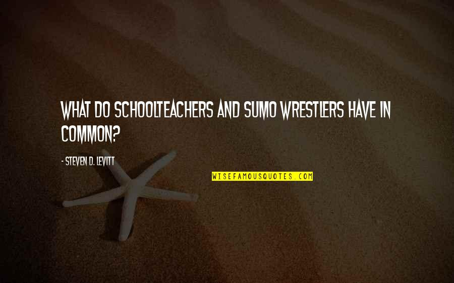 Schoolteachers Quotes By Steven D. Levitt: What Do Schoolteachers and Sumo Wrestlers Have in