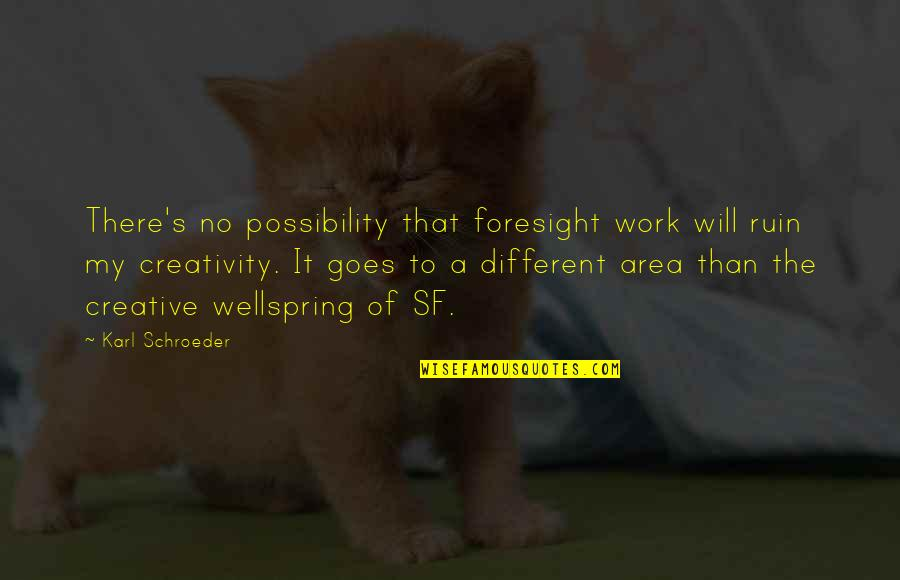 Schroeder's Quotes By Karl Schroeder: There's no possibility that foresight work will ruin