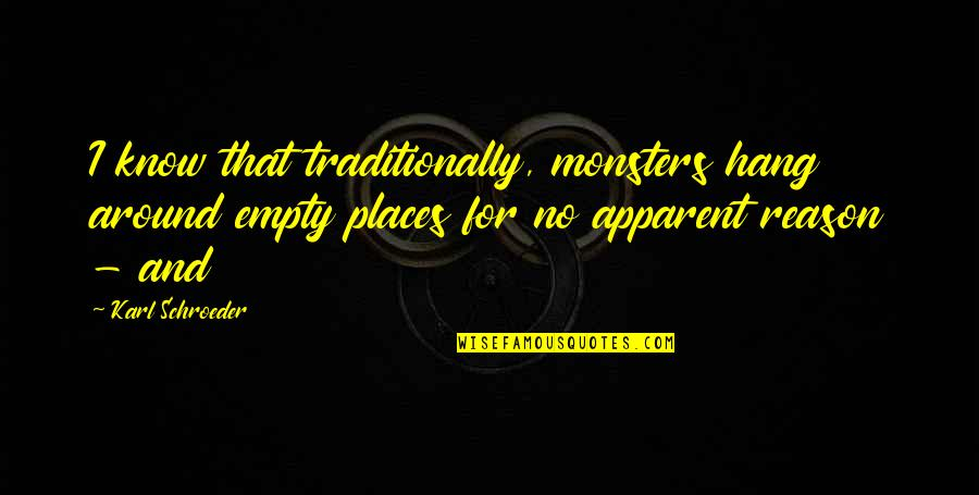 Schroeder's Quotes By Karl Schroeder: I know that traditionally, monsters hang around empty