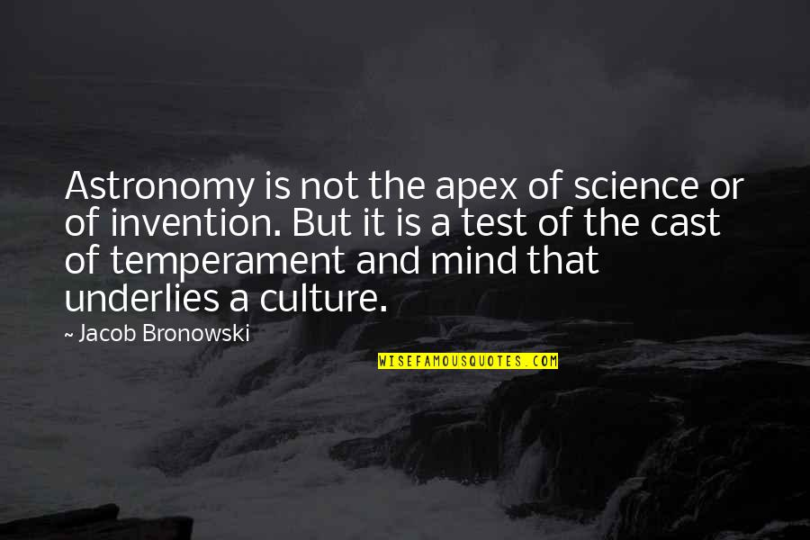 Science Of Mind Quotes By Jacob Bronowski: Astronomy is not the apex of science or