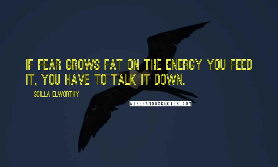 Scilla Elworthy quotes: If fear grows fat on the energy you feed it, you have to talk it down.