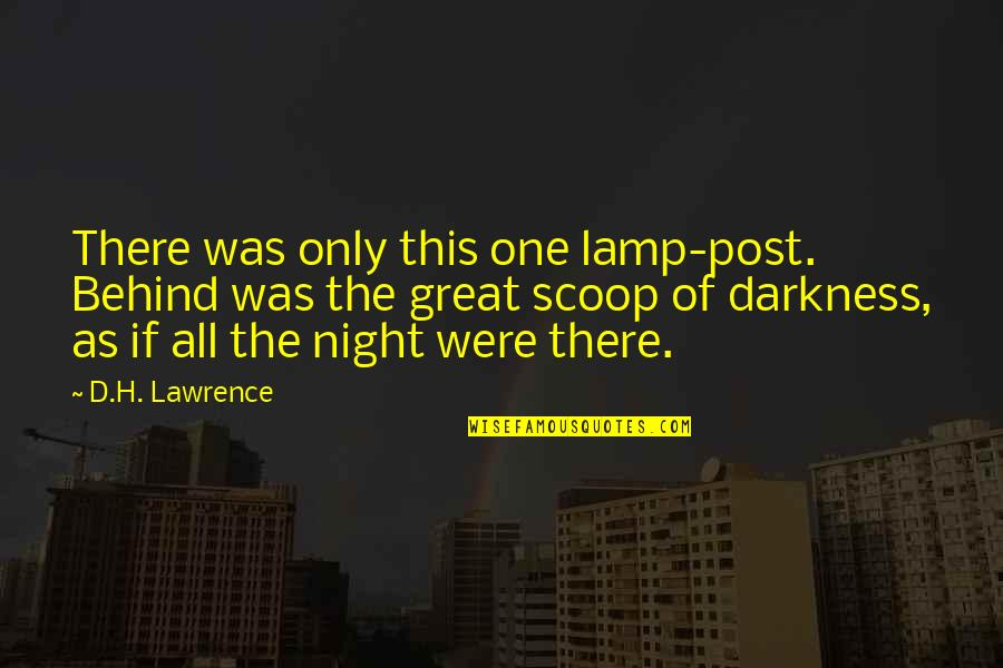 Scoop Up Quotes By D.H. Lawrence: There was only this one lamp-post. Behind was