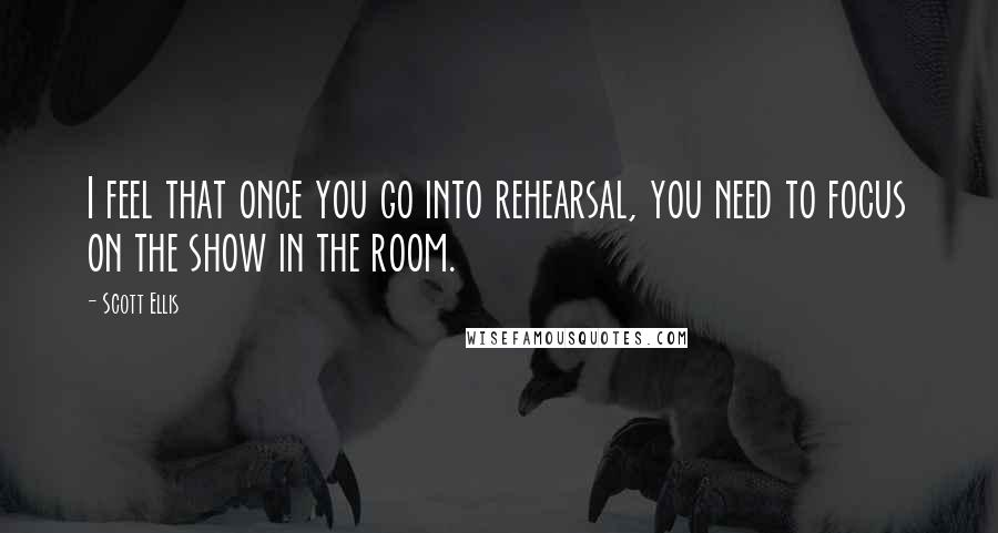 Scott Ellis quotes: I feel that once you go into rehearsal, you need to focus on the show in the room.