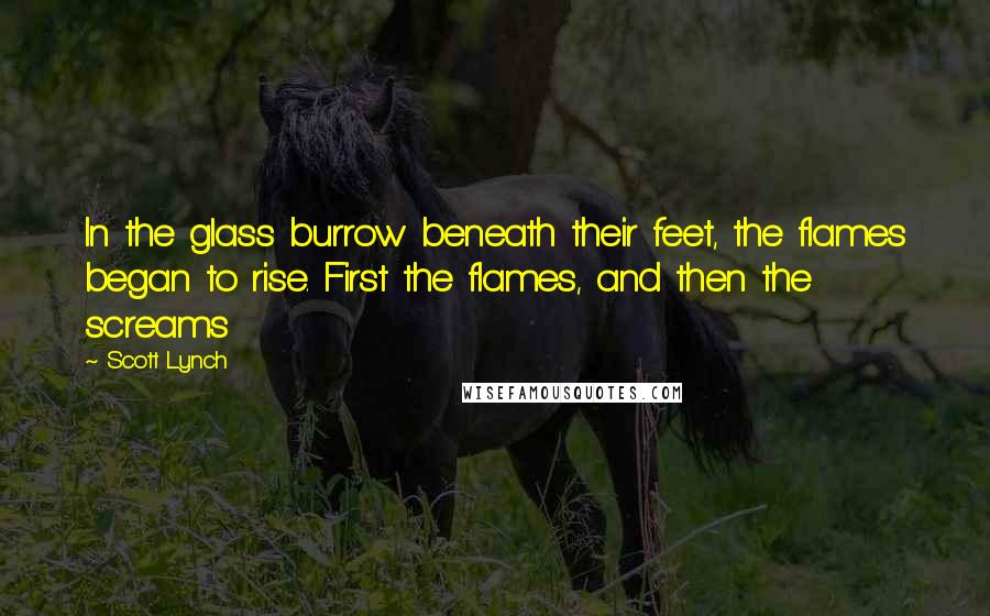 Scott Lynch quotes: In the glass burrow beneath their feet, the flames began to rise. First the flames, and then the screams
