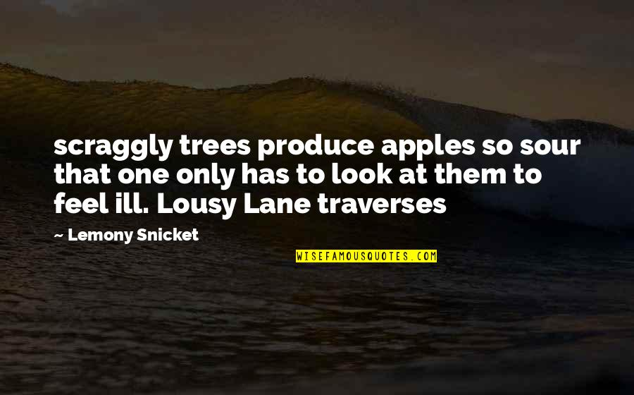 Scraggly Quotes By Lemony Snicket: scraggly trees produce apples so sour that one
