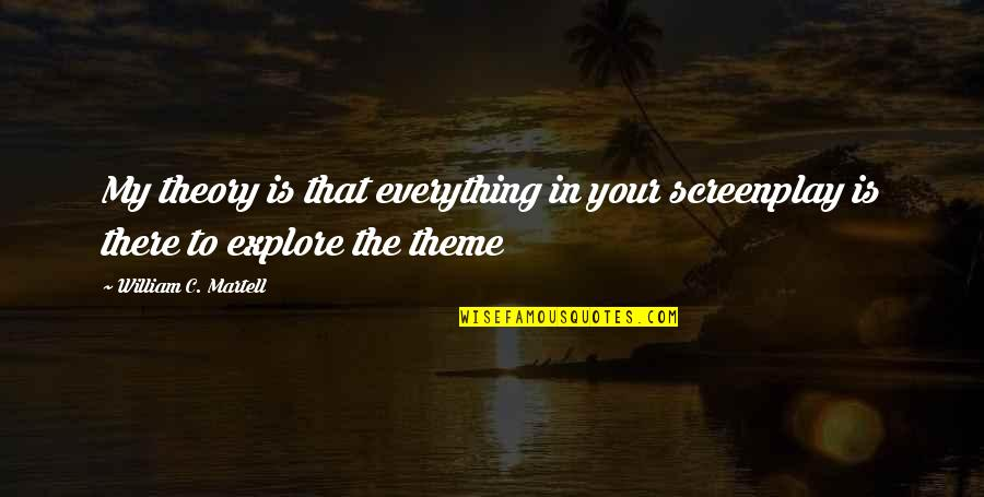 Screenplay Quotes By William C. Martell: My theory is that everything in your screenplay