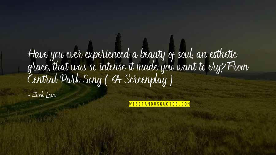 Screenplay Quotes By Zack Love: Have you ever experienced a beauty of soul,