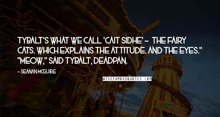 """Seanan McGuire quotes: Tybalt's what we call 'Cait Sidhe' - the fairy cats. Which explains the attitude. And the eyes."""" """"Meow,"""" said Tybalt, deadpan."""