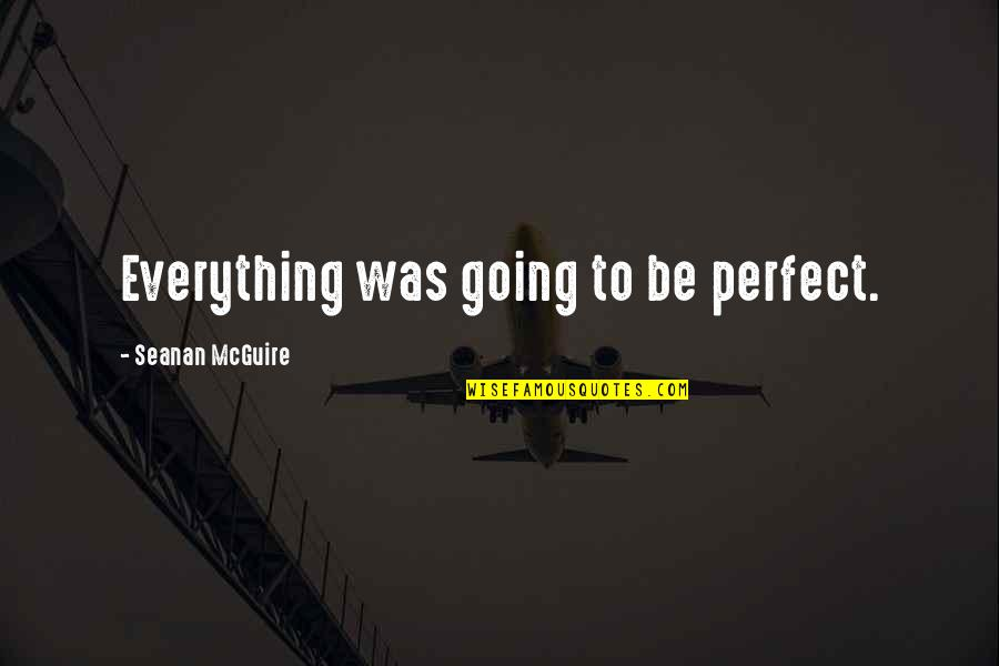 Seanan Mcguire Quotes By Seanan McGuire: Everything was going to be perfect.