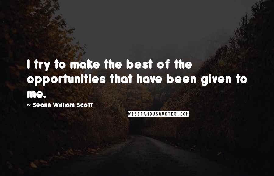 Seann William Scott quotes: I try to make the best of the opportunities that have been given to me.