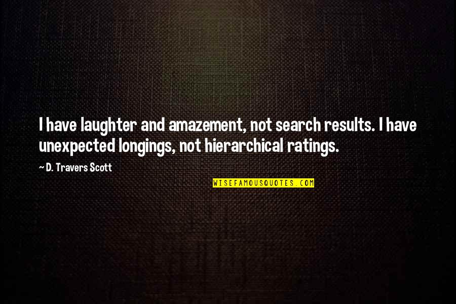 Search'd Quotes By D. Travers Scott: I have laughter and amazement, not search results.