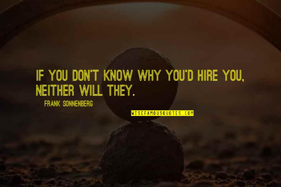 Search'd Quotes By Frank Sonnenberg: If you don't know why you'd hire you,