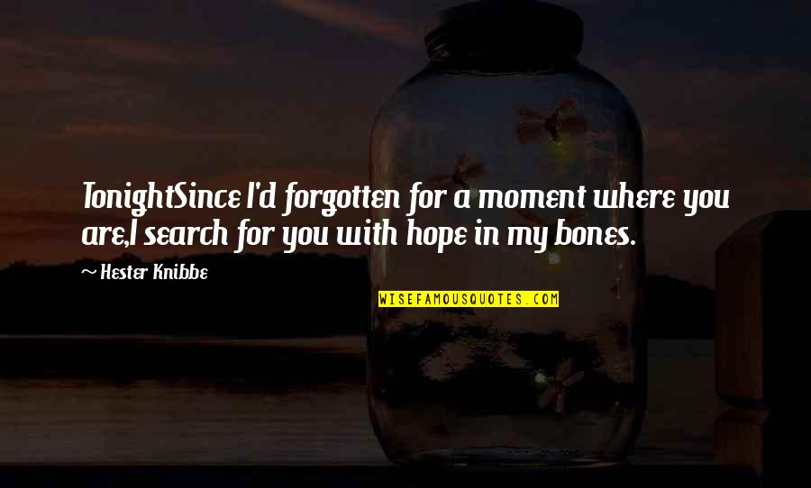Search'd Quotes By Hester Knibbe: TonightSince I'd forgotten for a moment where you