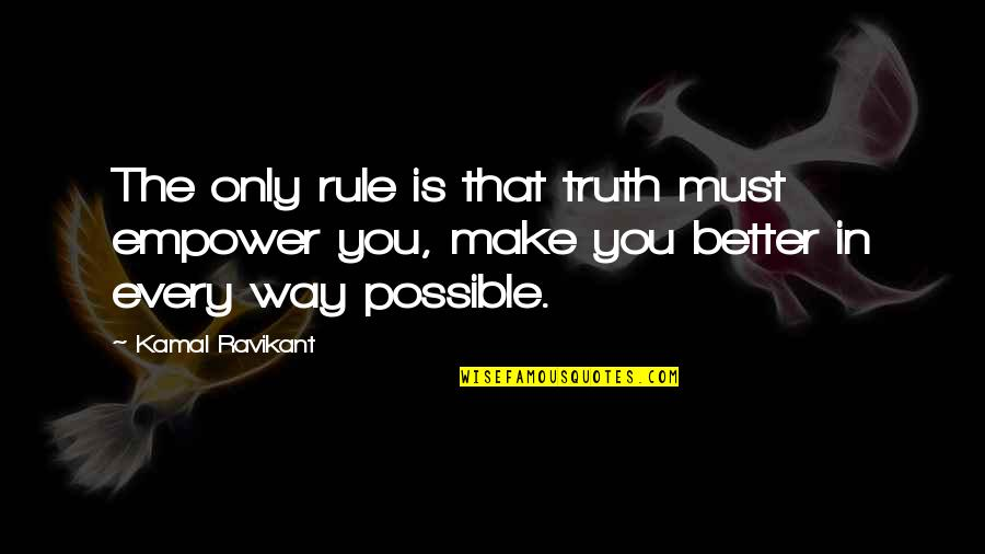 Search'd Quotes By Kamal Ravikant: The only rule is that truth must empower