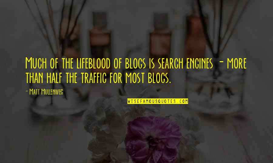 Search'd Quotes By Matt Mullenweg: Much of the lifeblood of blogs is search